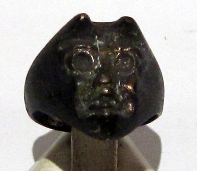 Very Rare 18Th To 19Th C Bronze Satanistic Ring With A Head On Devil  # 966