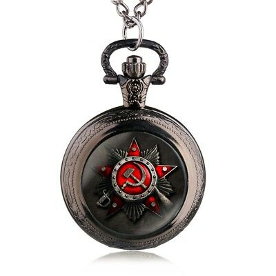 Pocket Watch Soviet Union + Necklace Mini Hammer Sickle Shaped Star Russia