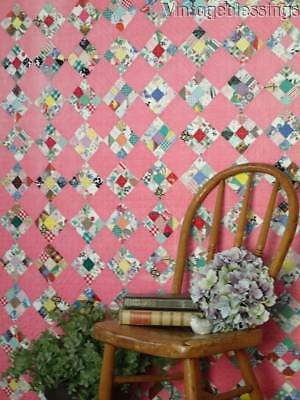 "OH MY 1"" Tiny Pieces! VINTAGE Postage Stamp QUILT Delicious Pink"