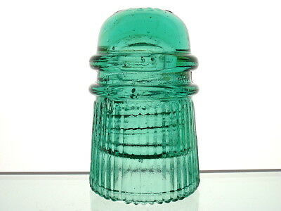 SUPERB- MINTY GREEN CD 121 WITHYCOMBE PLEATED RIDGED PATD 1899 Toll Insulator