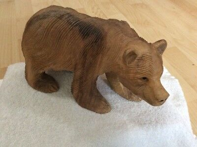 Canada Canadian Hand Carved Wooden Bear, Brown Grizzly