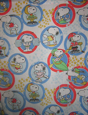 Vintage Olympics Snoopy Flat Full Size Bed Sheet Belle Sports Gold Medal Peanuts