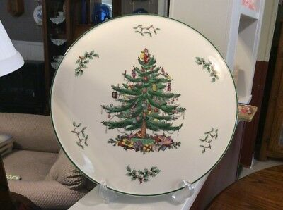 """Spode Christmas Tree Flat Cake Plate/ Cheese Plate England 11 ⅜"""" In Box"""
