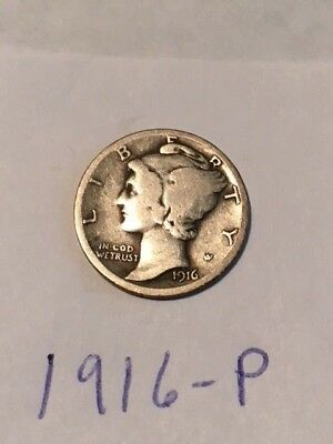 1916 P Mercury Silver Dime - Scarce Coin- Trusted Seller