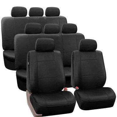 3-Row PU Leather Seat Covers for SUV Van Full Interior Seat Covers Set