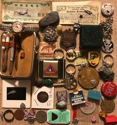 Old Antique Vintage Junk Drawer Estate Lot Coin Stamp Gold Collectible Jewelry 4