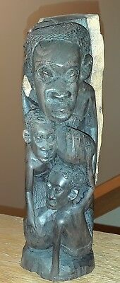 "Vintage African ""tree Of Life "" Ebony Wood Carving  9"" Tall"