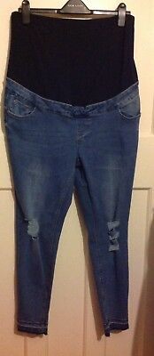 New Look Blue Ripped Jenna Over Bump Maternity Jeans Size 16 Crop BNWT NEW