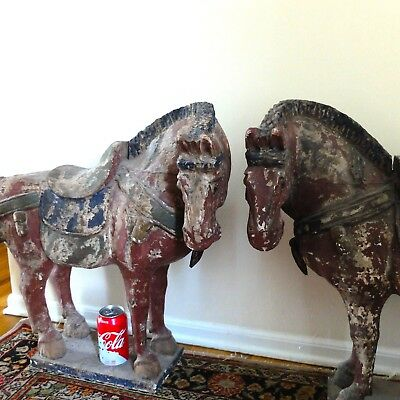 "24"" China Huge Folk Wood Carved Painted Lucky Tang Horse Pair Statue"