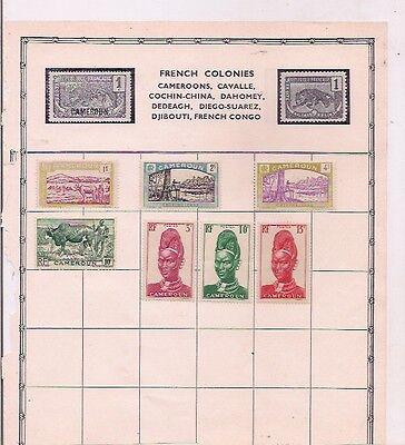 7 CAMEROON stamps on an album page.