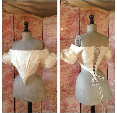 Beautiful Antique Early Victorian Silk Laced  Bodice With Tassel Braided Sleeves