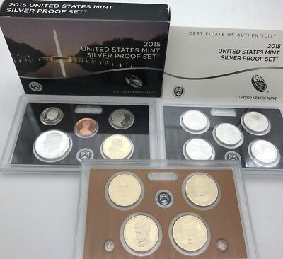 United States 2015 Mint Silver Proof 14 coins Quarters & Presidents set USA KMS