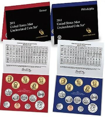 United States 2011 Mint Uncirculated Coin Set P & D USA Philadelphia Denver KMS