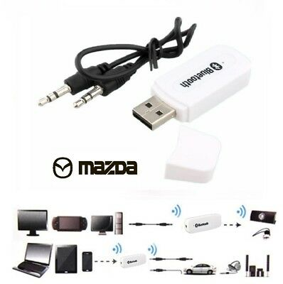 AUX 3.5mm to Bluetooth Audio Stereo Music Car USB Receiver Adapter Mic for MAZDA
