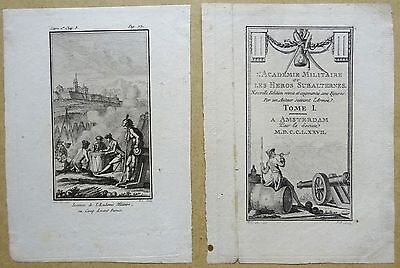 2 ANTIQUE PRINTS! Late 18th/early 19th Century. Etchings Military Illustrations