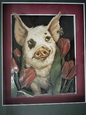 """""""Pig in the Roses"""" Fantastic Decoupage Craft Work. Well framed, Exquisite Piece!"""
