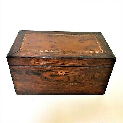 Fine 19th Century Rosewood Maple Inlaid Tea Caddy