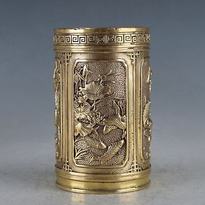 Chinese Exquisite Brass Fish&Dragon Brush Pot Made During The Xuande Period