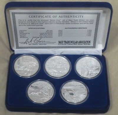 """Rare COMPLETE """"Series 4"""" 2007-2011 MAUI TRADE DOLLARS - 5 Coin Set .999 SILVER"""