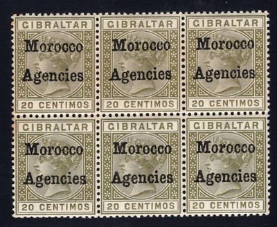 1898 Morocco Agencies. SG#3cd . Mint, Never Hinged, Very Fine. Block of 6