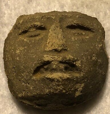 Pre-Columbian Pottery Antiquity Human Face Rare? Stone? Honduras American