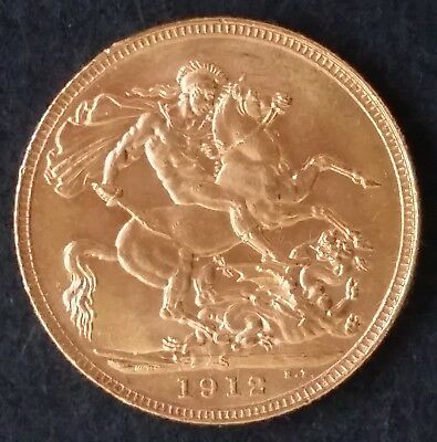 1912 Australia One Sovereign Gold ( .916 ) coin George V S Mintmark