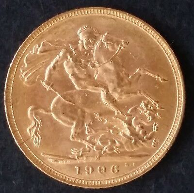 1906 Australia One Sovereign Gold ( .916 ) coin Edward VII M Mintmark