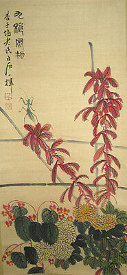 Fine Vintage Chinese Scroll  Painting leaf and insects by Qi Baishi 齐白石 草虫