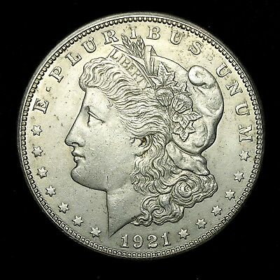 1921 S ~**ABOUT UNCIRCULATED AU**~ Silver Morgan Dollar Rare US Old Coin! #100F