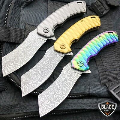 TACTICAL Spring Assisted Open Pocket Knife CLEAVER RAZOR SAMURAI FOLDING BLADE
