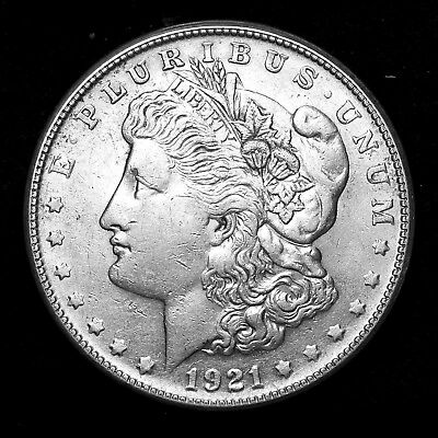 1921 S ~**ABOUT UNCIRCULATED AU**~ Silver Morgan Dollar Rare US Old Coin! #842