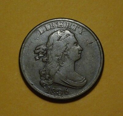 1806 Draped Bust Half Cent, Vf  ~  Wonderful Coin In Hand!