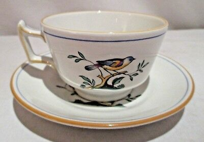Spode Y4973-T Queen's Bird Multi-color Bird Lt Gray Cup and Saucer
