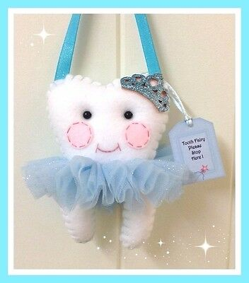 Tooth Fairy Pillow Blue Glitz Princess - Pocket on the back for lost Tooth