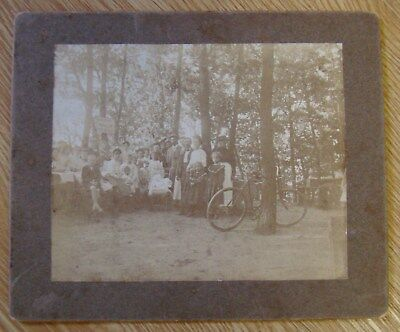 1900s Mantua Grove NJ New Jersey Photo bicycle baby carriage picnic in the woods