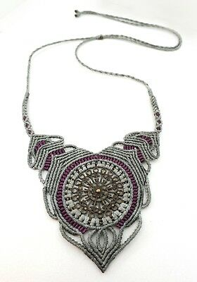 Macrame Jewellery Necklace Pendant Metal Mandala Feature Handmade Micro Macrame