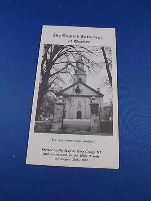 English Cathedral Of Quebec Church Flyer Travel Information Brochure Souvenir