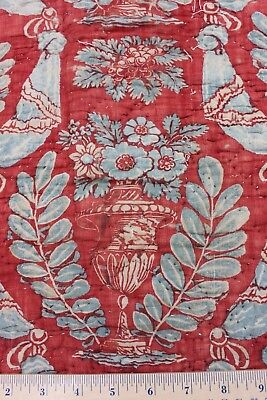 French Toile de Jouy Hand Blocked & Resist Linen Quilted Fabric