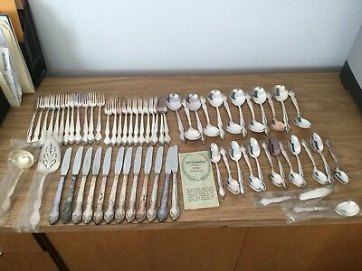 WM Rogers Reinforced SilverPlate Lady Densmore Basque Rose Flatware Set 64 PCS