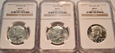 Lot (3) NGC MS 67 SMS Kennedy Half Dollars, 1965 1966 1967 Proof Like Silver 50C