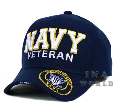 3d4bd72c5fe99 U.S. NAVY hat NAVY VETERAN 3D Embroidered Military Baseball cap- Navy Blue
