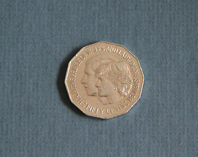 AUSTRALIA 1981 Royal Wedding Prince Charles Diana 50c coin fifty cents QEII
