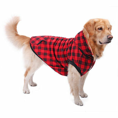 Pet Dog Cat Clothes Removable Hoodie Cozy Warm Large Dog Soft Plaid Appearels