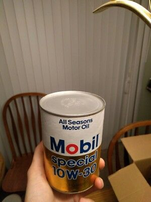 Vintage Cardboard 1 Quart Mobil Special 10W-30 Oil Can Full, Great Condition