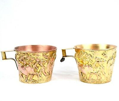 2 Vintage Greek Embossed Brass Cup Hand Made Repousse Lead Tag Bull Design