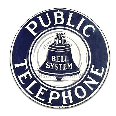 "Bell System Public Telephone Reproduction 11.75"" Circle Aluminum Sign"