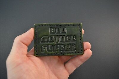 Boss-Lock Customs Leather Patch Bad MOFO Velcro backed OD Green