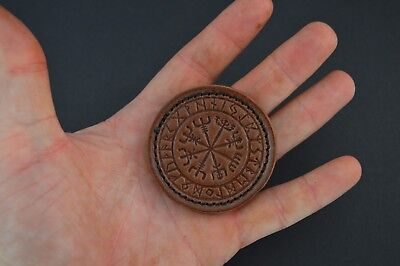 Boss-Lock Customs Leather Patch Norse Stave Vegvísir Velcro backed Brown