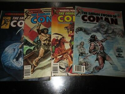 Lot Of 4 The Savage Sword Of Conan The Barbarian Marvel Magazines