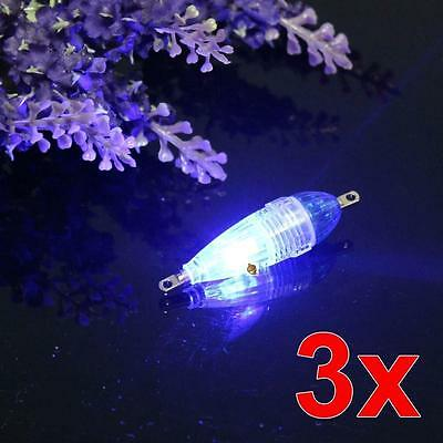 3X LED Flash Fishing Light Squid Lure Submersible Underwater Tackle Lamp Blue RR
